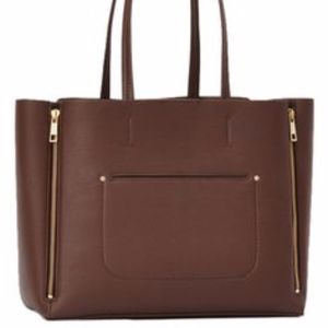 Ann Taylor signature dark brown leather tote